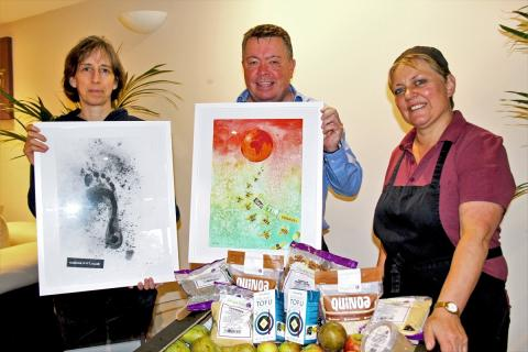 Ceramicist Mia Sarosi with climate change inspired designs along with Chris Williams of Jennings and Debbie Warland of the Picnic Hamper Café at the Business Eco Day